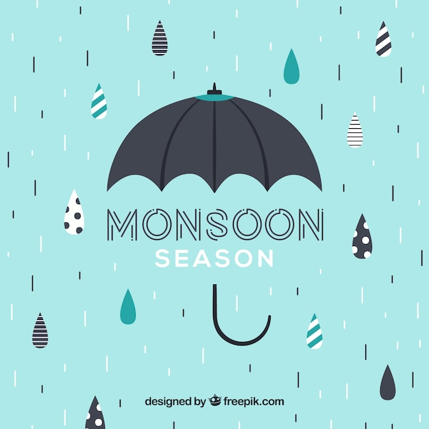 Lovely monsoon season composition with umbrella Free Vector
