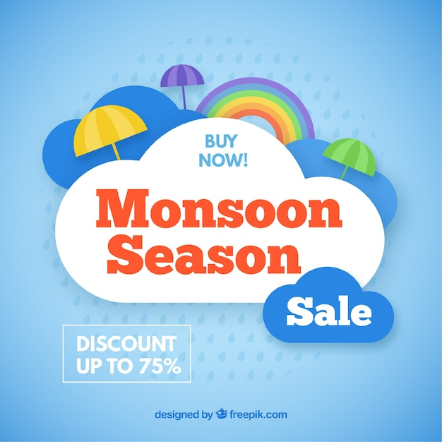 Lovely monsoon season sale composition Free Vector