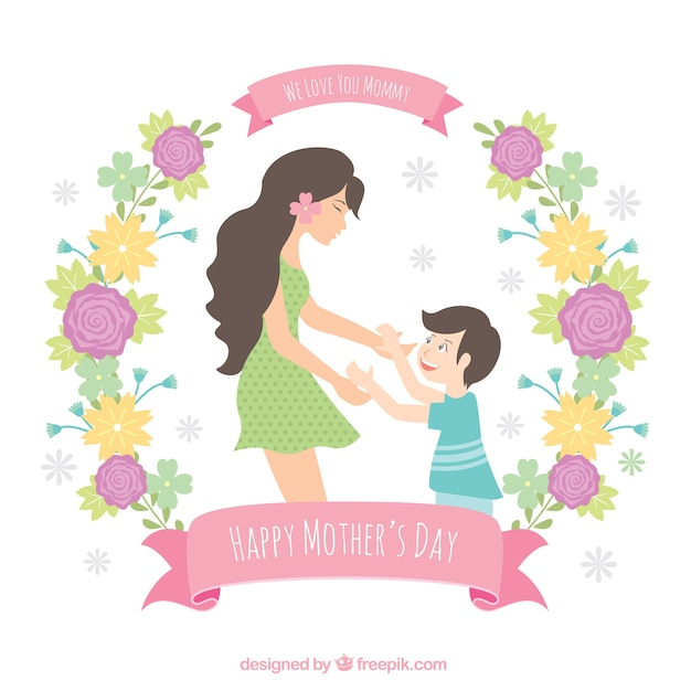 Lovely mother background with her son