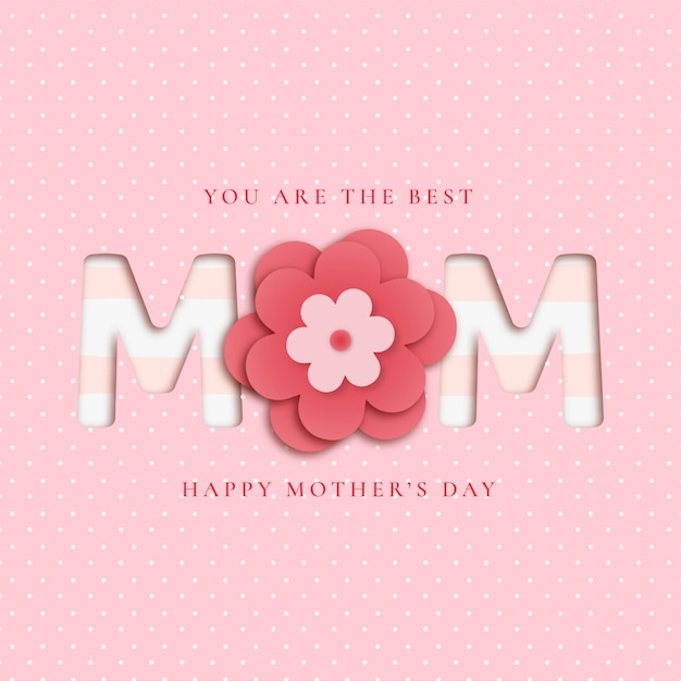 Lovely mother's day background with papercut flowers Free Vector
