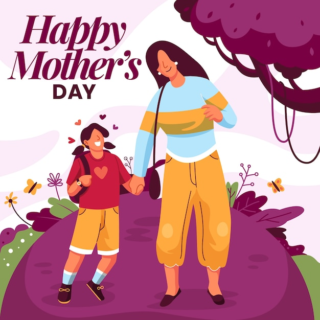Lovely mother's day background Free Vector