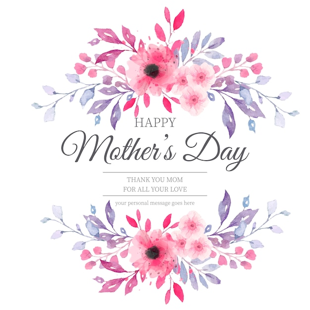 Lovely mother's day card with watercolor flowers Free Vector