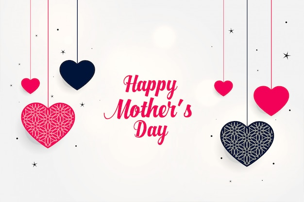 Lovely mother's day greeting with hanging hearts Free Vector