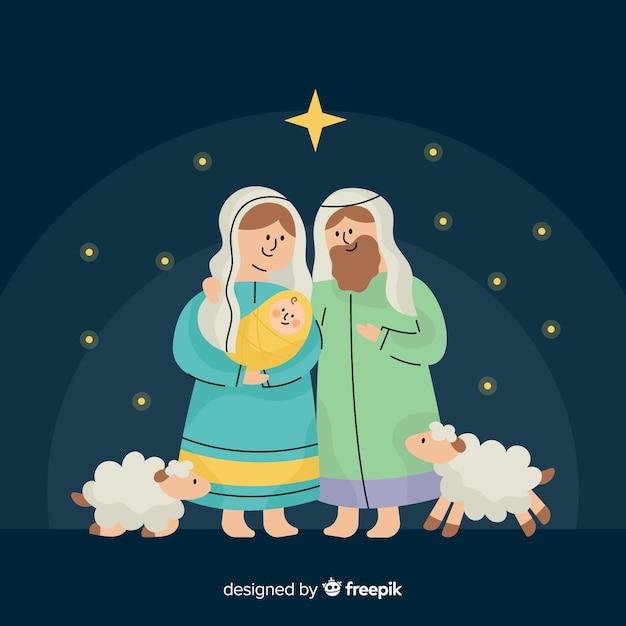 Lovely nativity scene background in flat design Free Vector