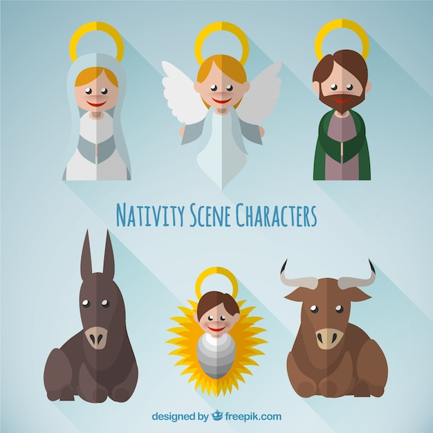 Lovely nativity scene characters pack Free Vector