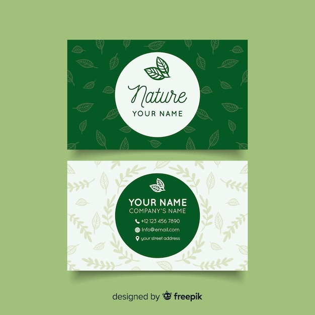 Lovely nature concept business card Free Vector