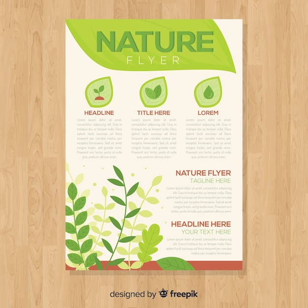 Lovely nature flyer template with modern style Free Vector