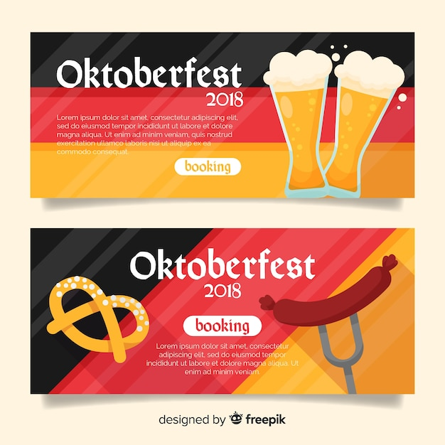 Lovely oktoberfest banners with flat design Free Vector