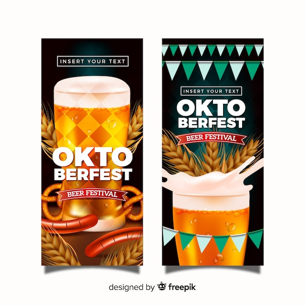 Lovely oktoberfest banners with realistic design Free Vector