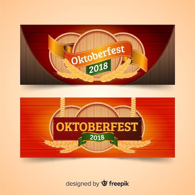 Lovely oktoberfest banners Free Vector