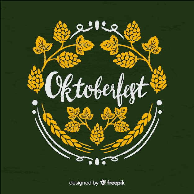Lovely oktoberfest composition with blackboard style Free Vector