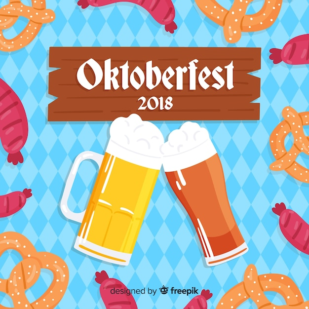 Lovely oktoberfest composition with flat design Free Vector