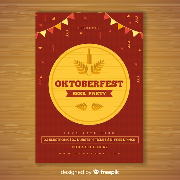 Lovely oktoberfest party poster with flat design Free Vector
