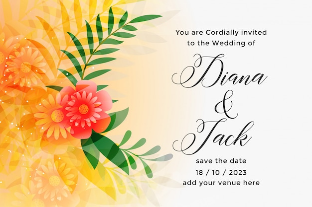 Lovely orange wedding invitation card design template Free Vector
