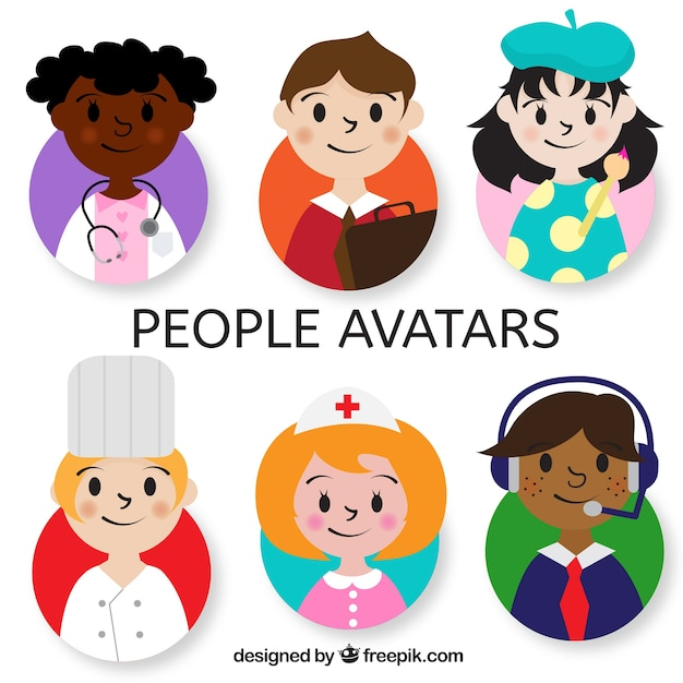 Lovely pack of children avatars Free Vector
