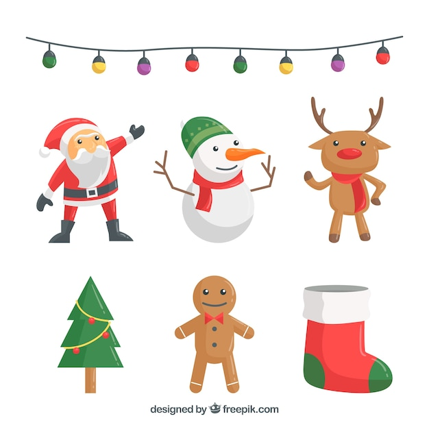 Lovely pack of christmas ornaments Free Vector