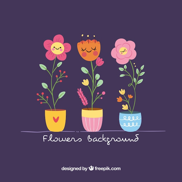 Lovely pack of flowers with flat design Free Vector