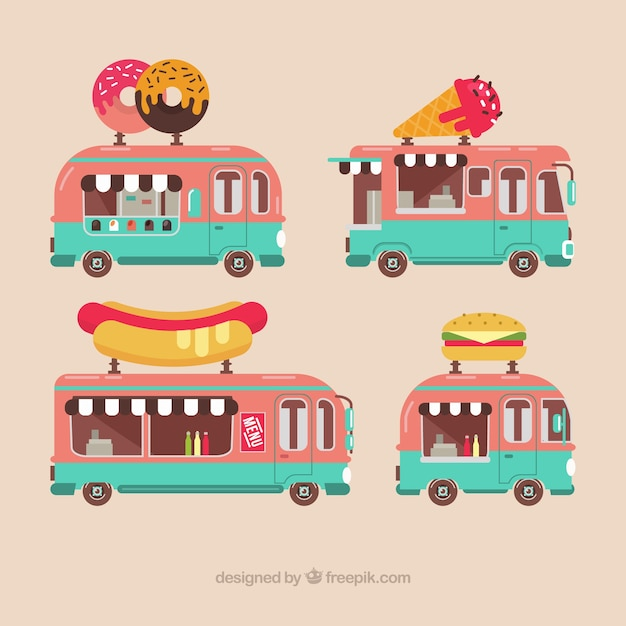 Lovely pack of flat food trucks