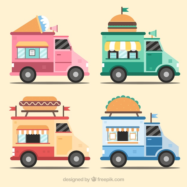 Lovely pack of flat food trucks