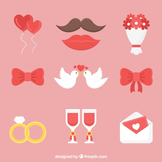 Lovely pack of flat wedding elements