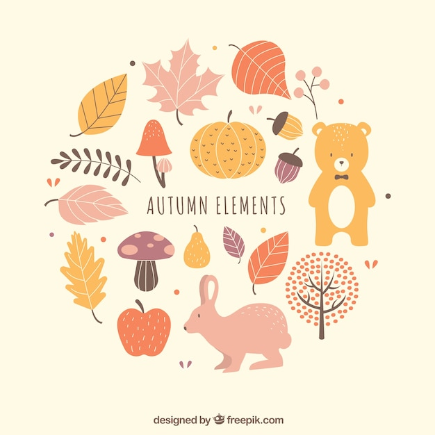 Lovely pack of fun autumn elements Free Vector