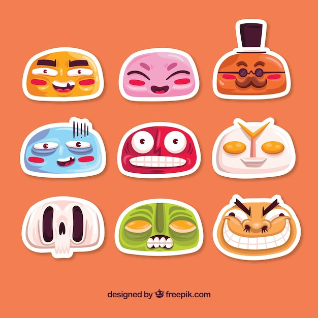 Lovely pack of funny faces stickers
