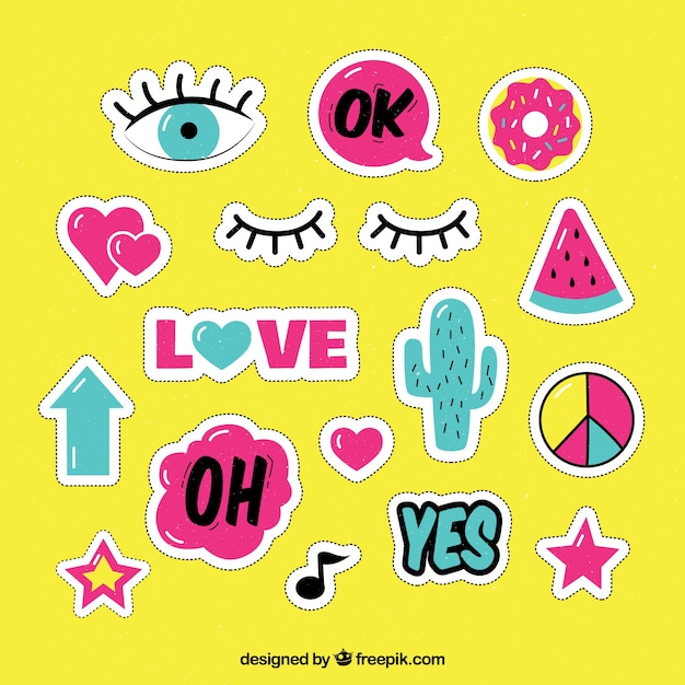 Lovely pack of pop art stickers Free Vector