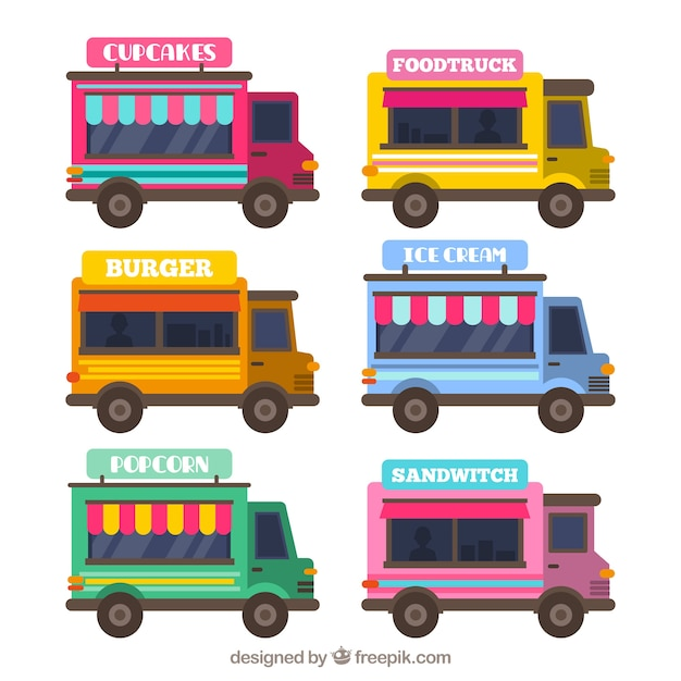 Lovely pack pack of flat food trucks