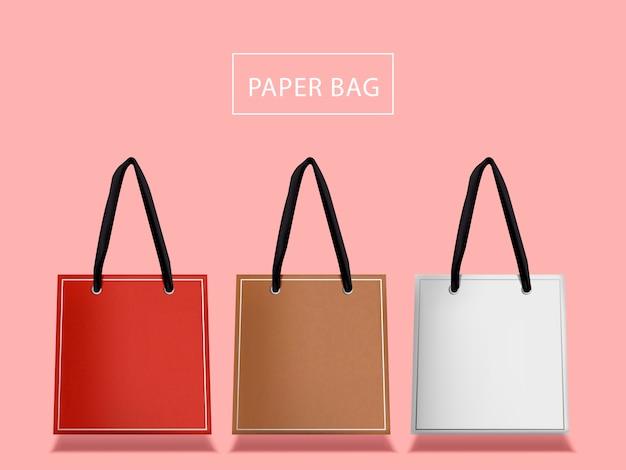 素敵な紙袋セット、ハンドルが分離された3つのバッグ Premiumベクター