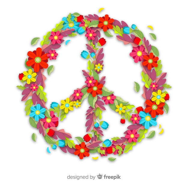 Lovely peace symbol with floral style Free Vector