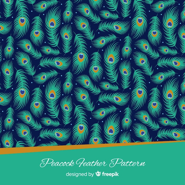 Lovely peacock feather pattern with flat design Free Vector