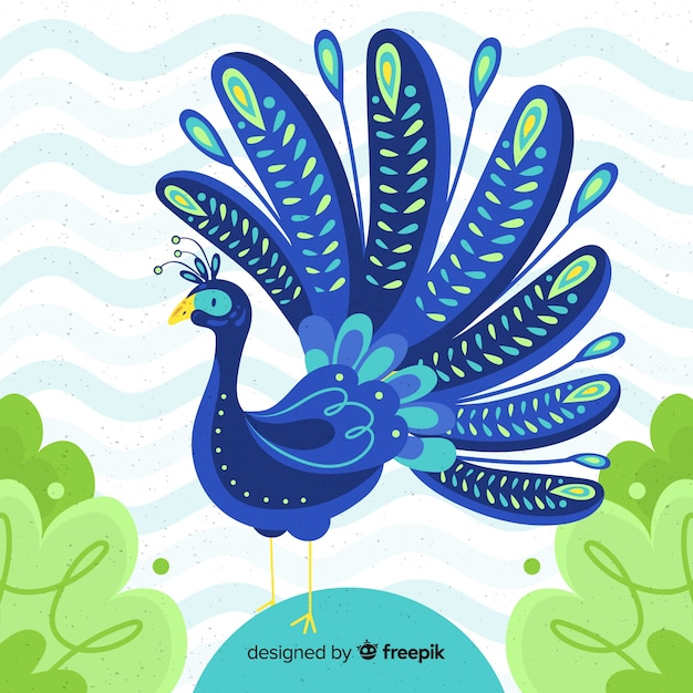 Lovely peacock in hand drawn style Free Vector