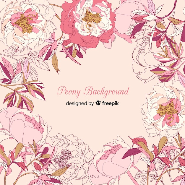 Lovely peony flower background Free Vector