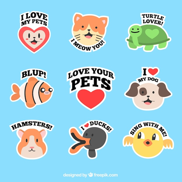 Lovely pets labels  Free Vector