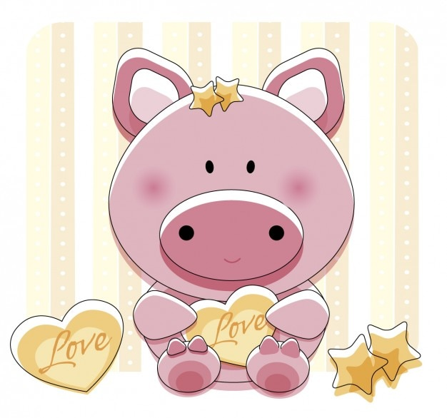 Lovely piggy with heart Free Vector