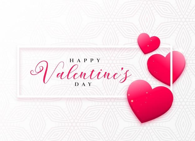 Lovely pink hearts frame design for valentine\'s day Vector | Premium ...