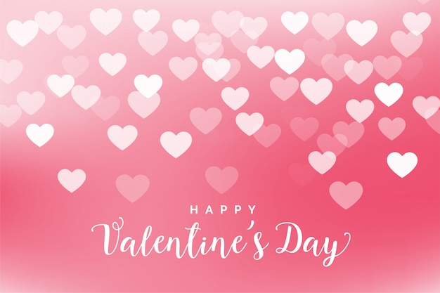 Lovely pink hearts valentines day greeting card Free Vector