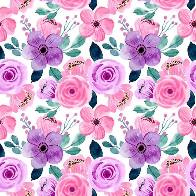 Lovely pink purple watercolor floral seamless pattern Premium Vector