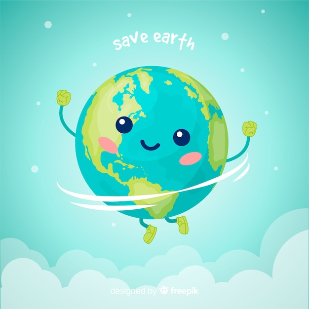 Lovely planet earth with cartoon style Premium Vector