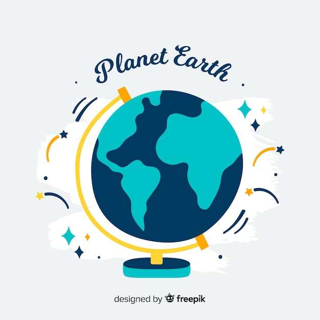 Lovely planet earth with flat design Free Vector
