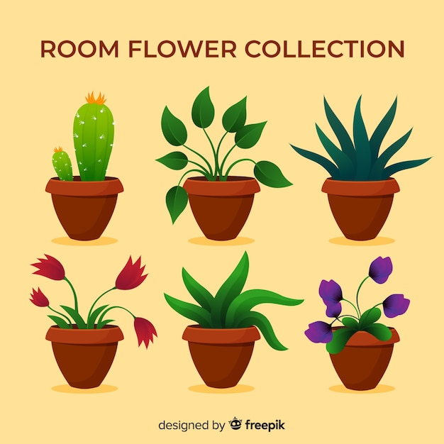Lovely plant collection with flat design Free Vector