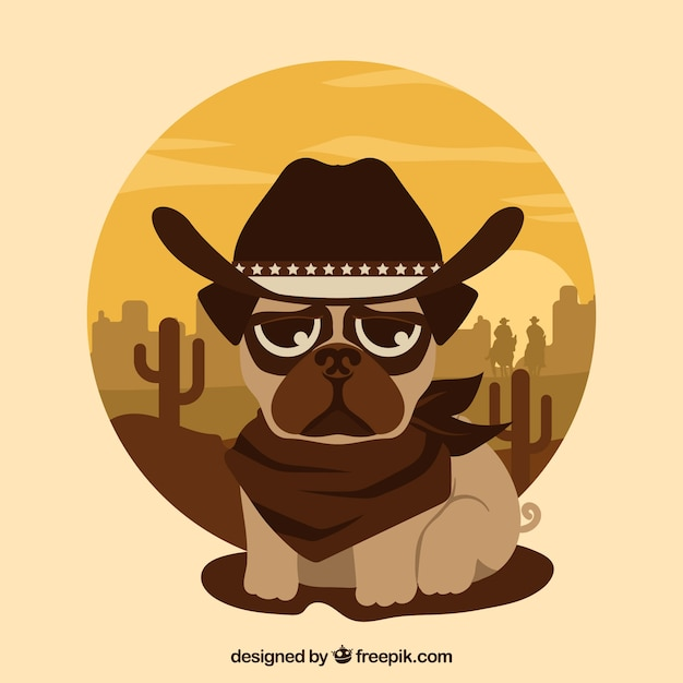 Lovely pug with cowboy style Vector  d75924b5080