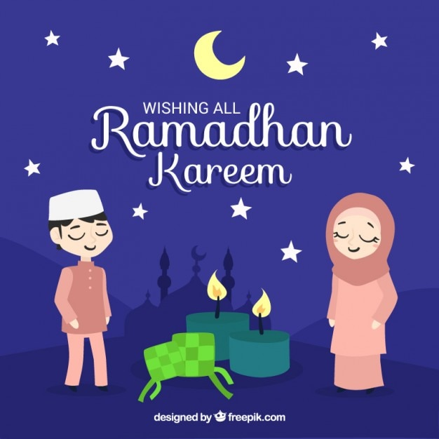 Lovely ramadan night background Free Vector