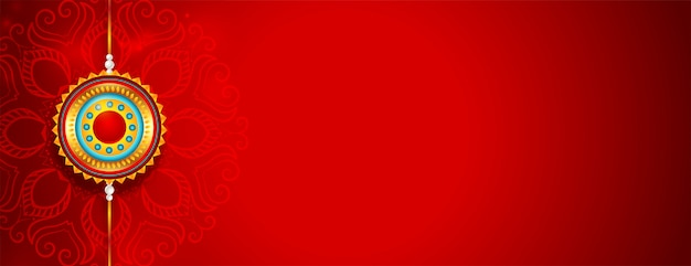 Lovely red happy raksha bandhan banner with text space Free Vector
