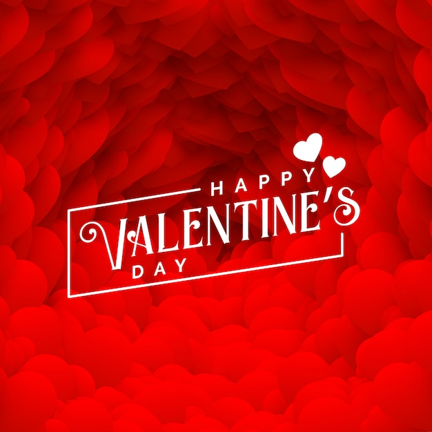 Lovely red hearts backdrop for happy valentines day Free Vector