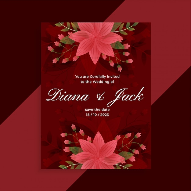 Lovely red wedding invitation floral card design Free Vector