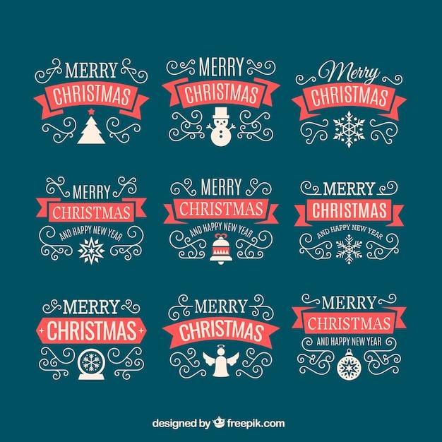 Lovely retro christmas ribbons pack Free Vector