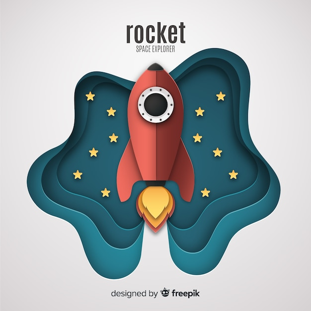Lovely rocket with paper art style Free Vector