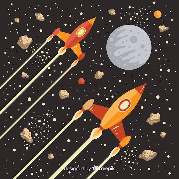 Lovely rocket with vintage style Free Vector