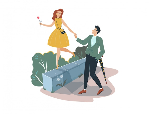 Lovely romantic date, man holding hand sweetheart female  on white, cartoon  illustration. character pair male and woman stroll. Premium Vector